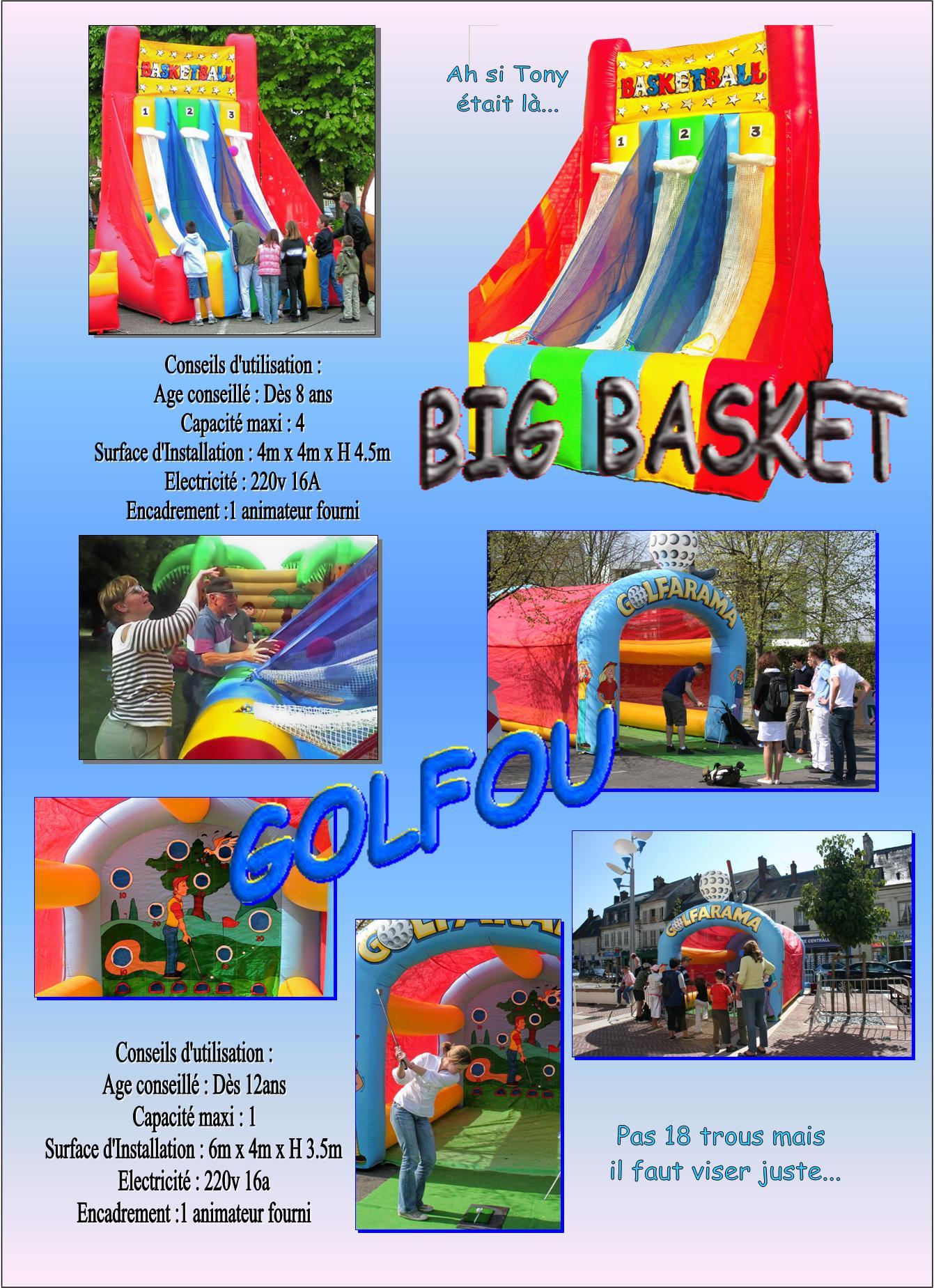 basket géant golf gonflable